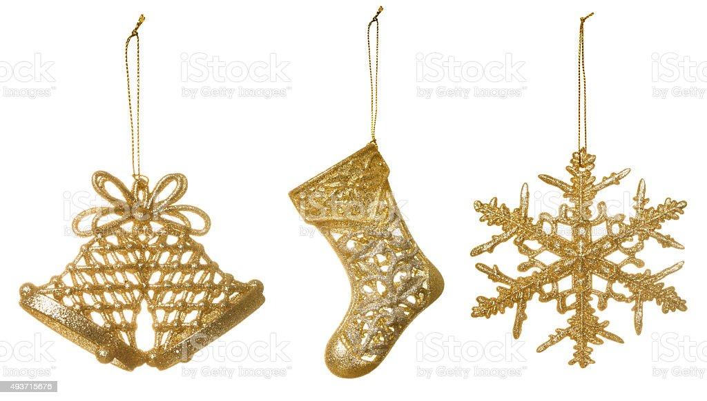 Three Christmas decoratoins stock photo