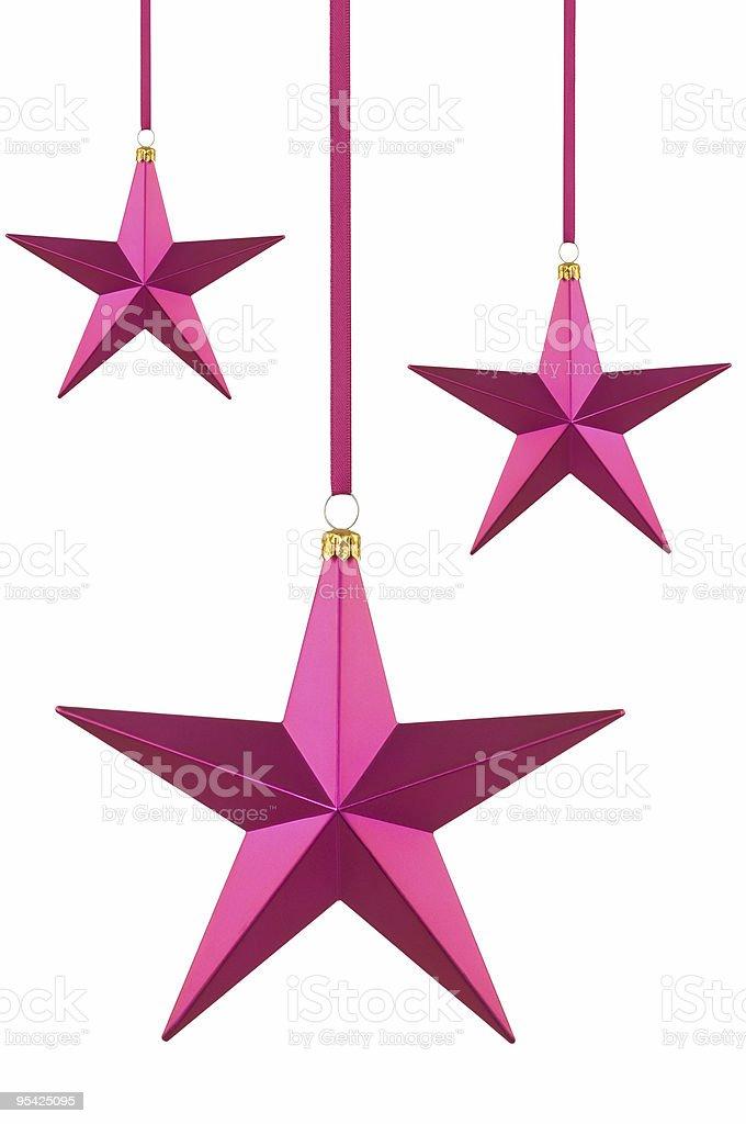 Three christmas star baubles stock photo