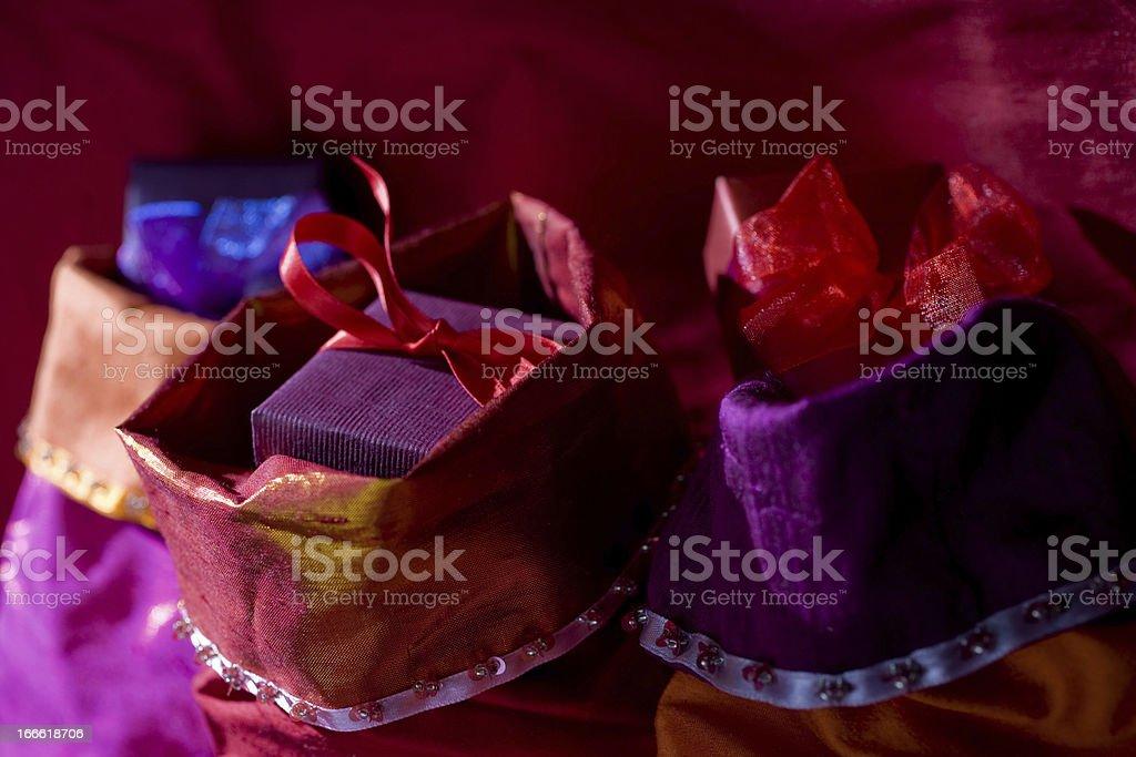 Three Christmas Stockings stock photo