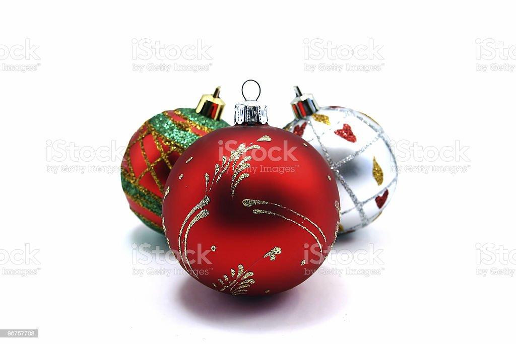 three christmas tree ornaments royalty-free stock photo