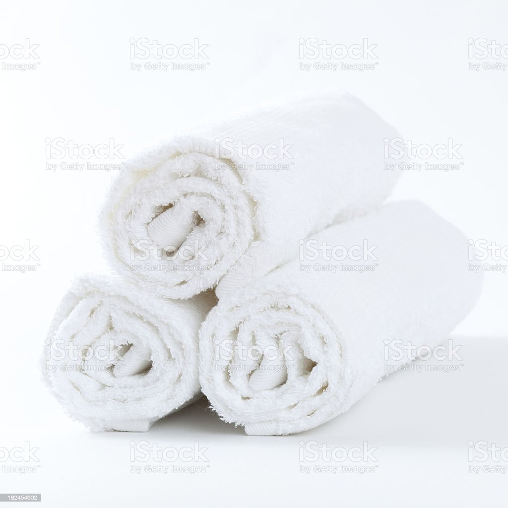 Three clean white towels stock photo