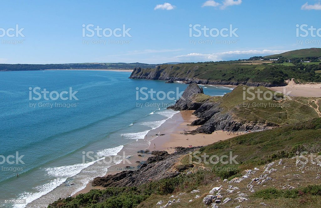 Three cliffs bay gower peninsular stock photo