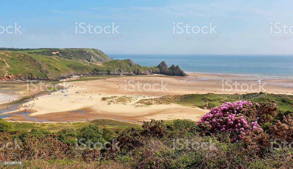 Three Cliffs Bay - Gower Peninsular stock photo