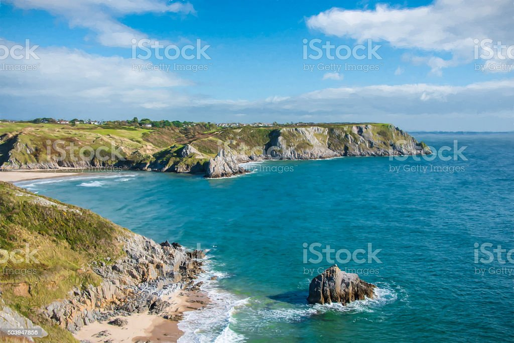 Three Cliffs Bay stock photo