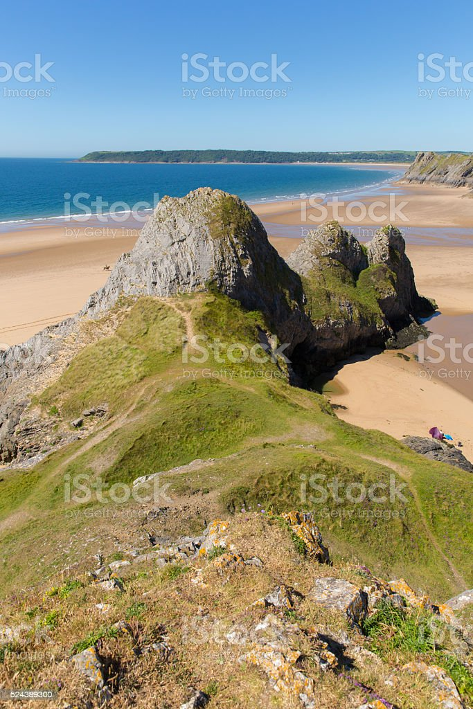 Three Cliffs Bay the Gower Wales uk in summer stock photo