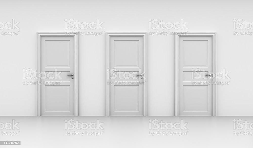 Three closed doors royalty-free stock photo