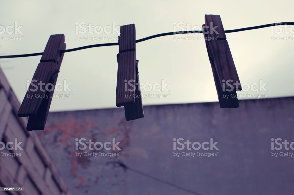 three clothespin stock photo