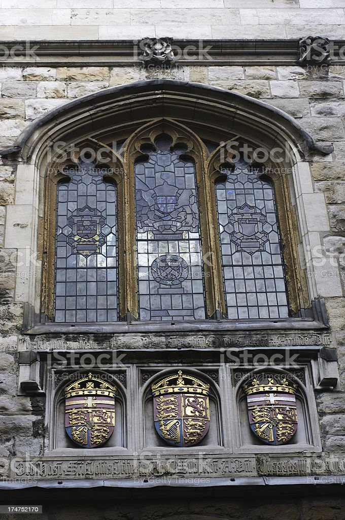 Three coat of arms at St. John's Gate Clerkenwell London royalty-free stock photo