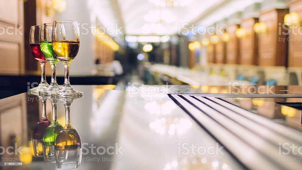 Three Cocktails blured background stock photo