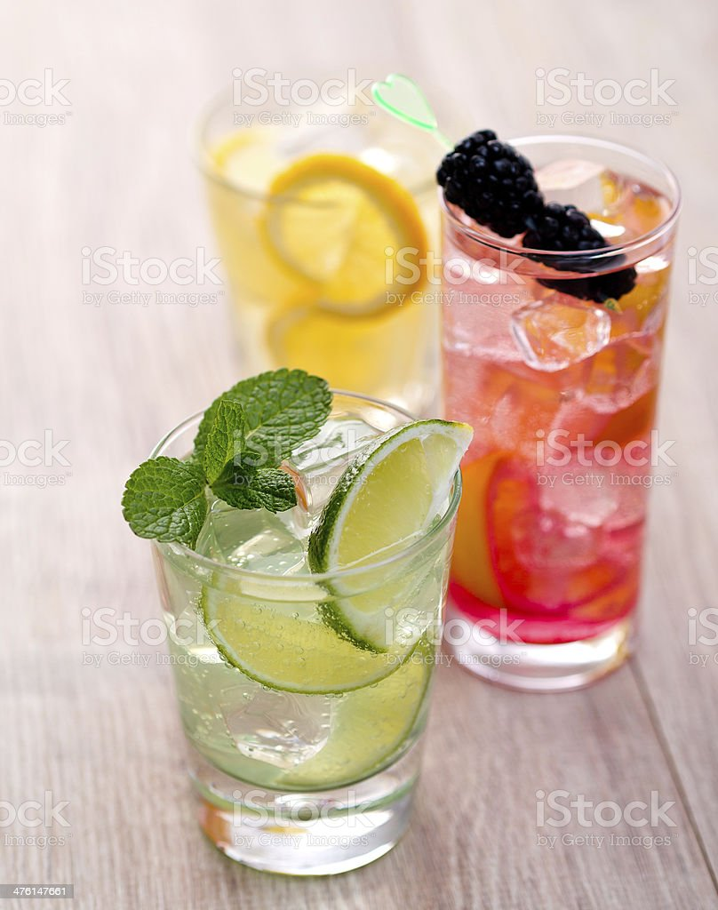 Three cocktails stock photo