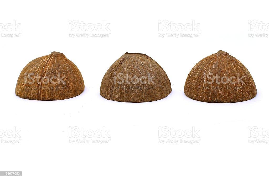 Three Coconut Half-Shells stock photo