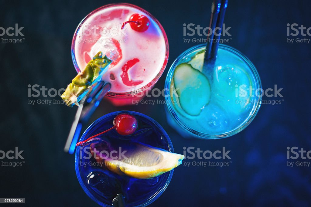 Three coctails on the bar stock photo