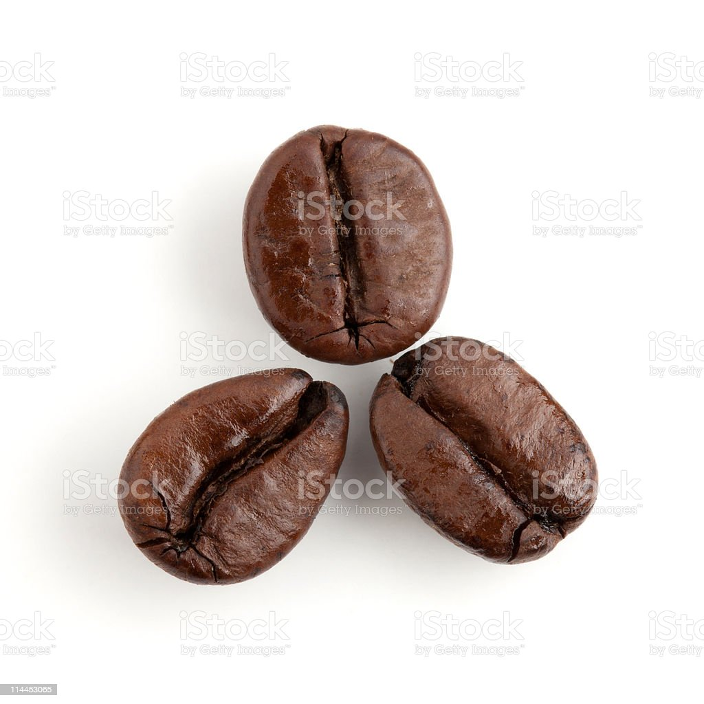 Three coffee beans stock photo