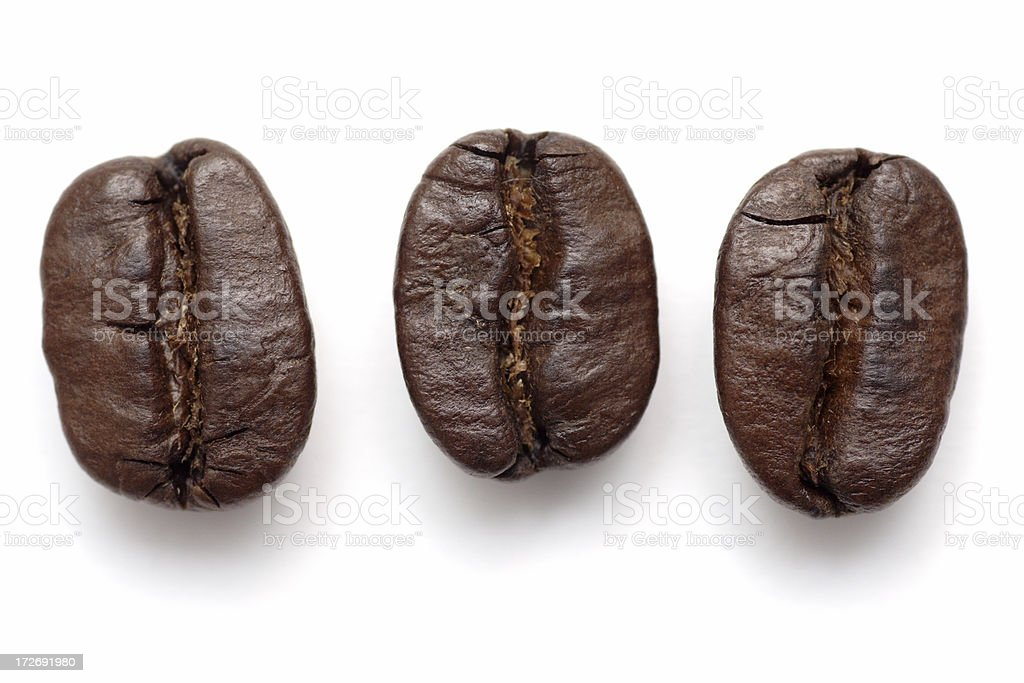 Three Coffee Beans royalty-free stock photo