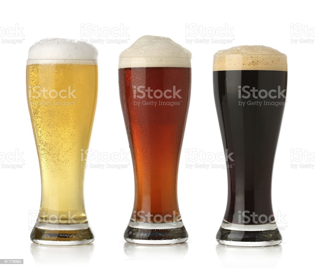 Three cold beer royalty-free stock photo