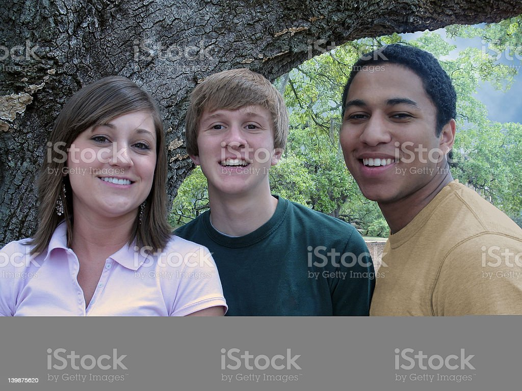 Three College Friends royalty-free stock photo