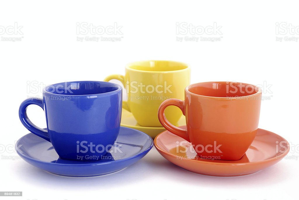 three colored cups royalty-free stock photo