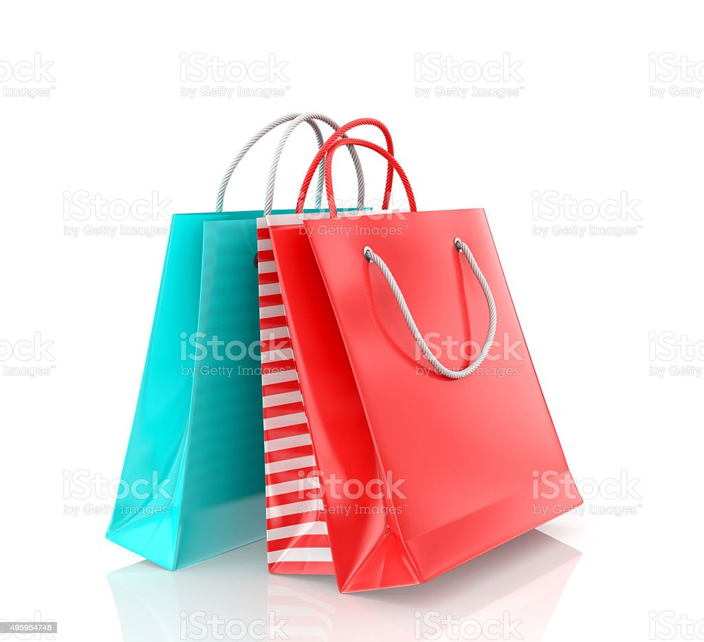 Three colored paper bag stock photo