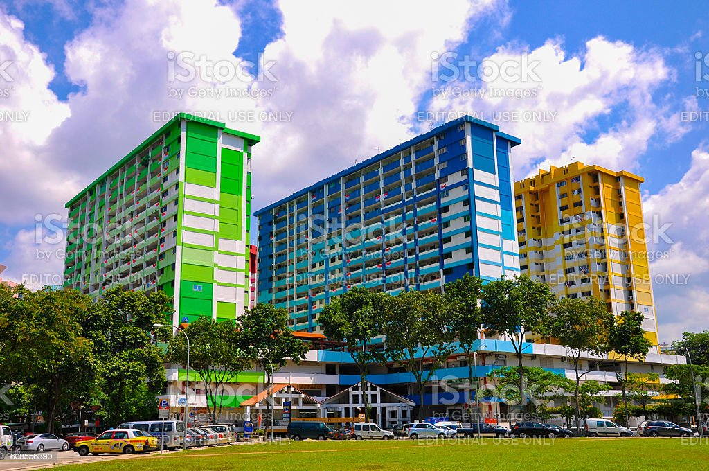 Three colorful apartment buildings in Rochor Centre, Singapore stock photo