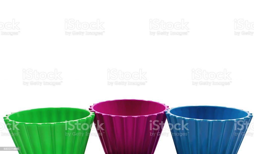 3 색상화 그릇/격리됨에 royalty-free 스톡 사진
