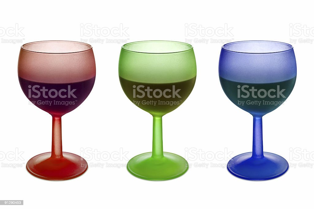 Three colorful glasses with wine royalty-free stock photo