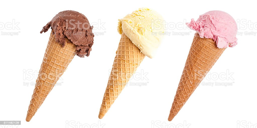 Three colorful ice cream cones stock photo