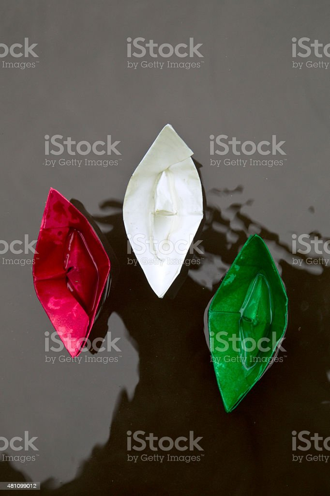 Three colorful Paperboat stock photo