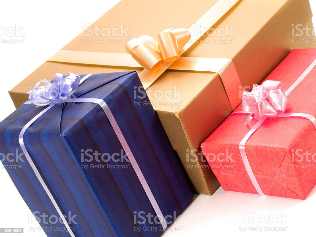 Three colorful presents royalty-free stock photo