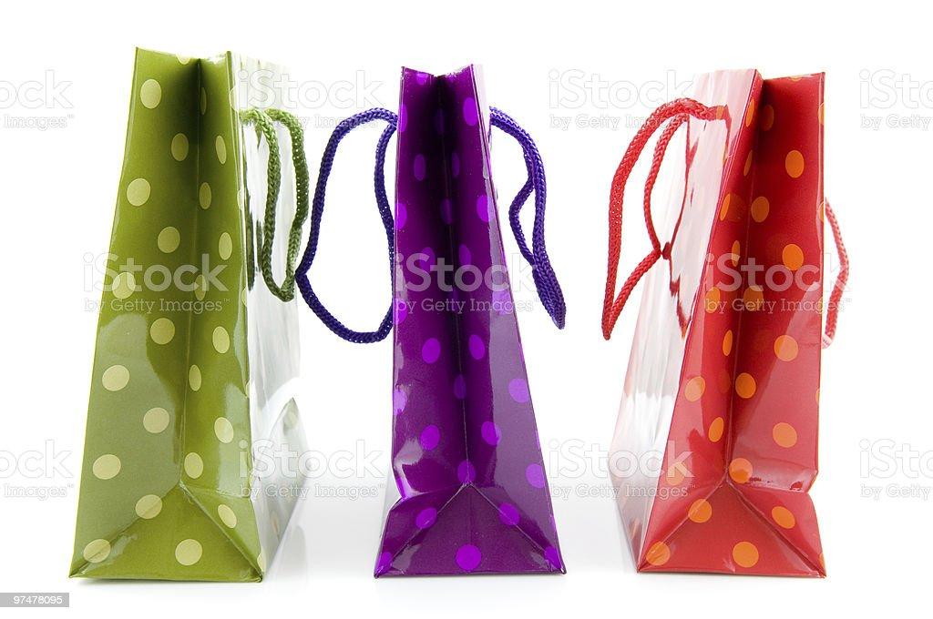 Trois des sacs de couleur vive photo libre de droits