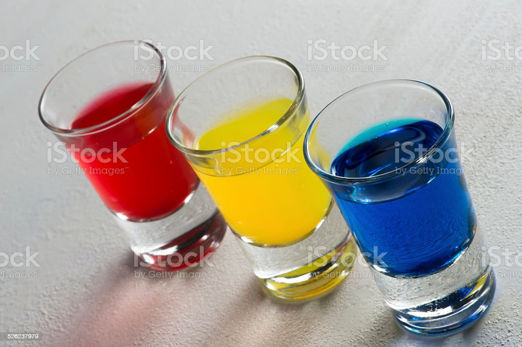 Three colorful shots - diagonal line up stock photo