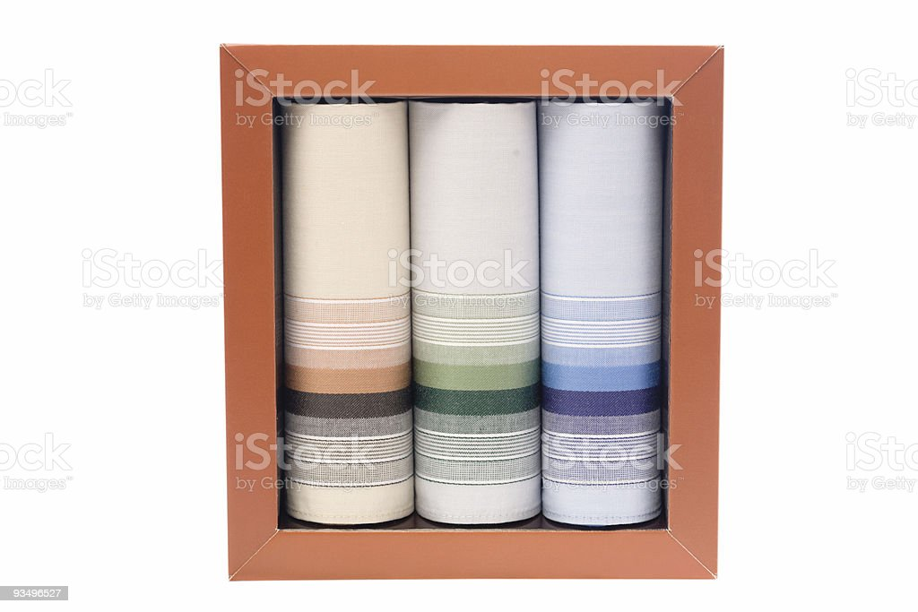 Three colorful snot rag in a paper box on white stock photo