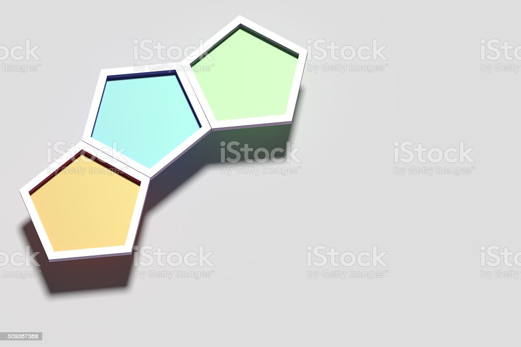 Three colorful three-dimensional hexagons stock photo