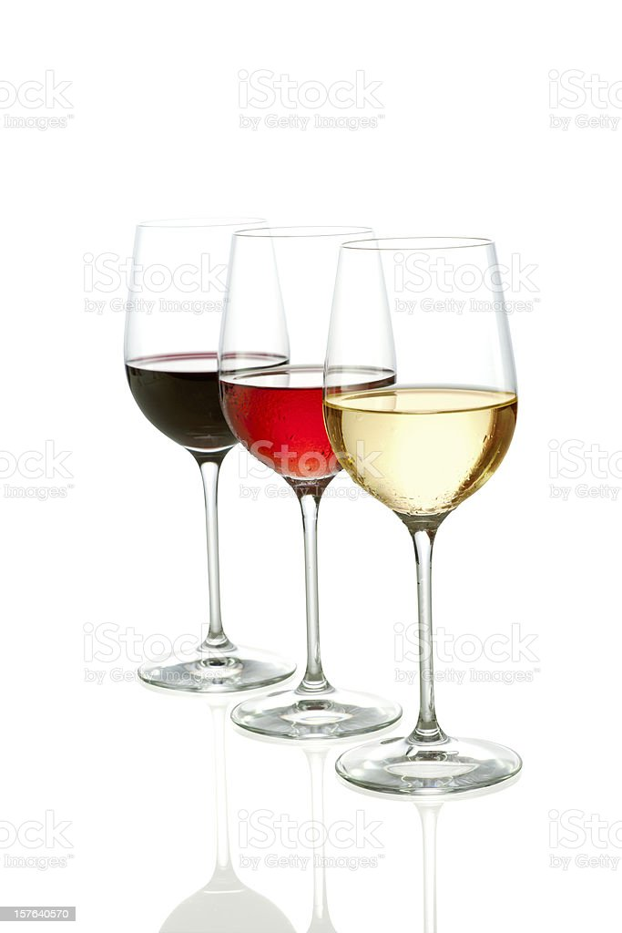 Three Colors of wine  - clipping path included royalty-free stock photo