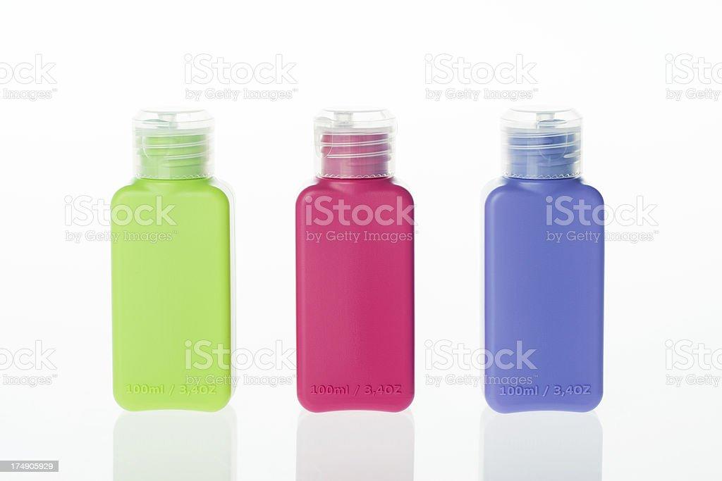 Three colour bottle stock photo