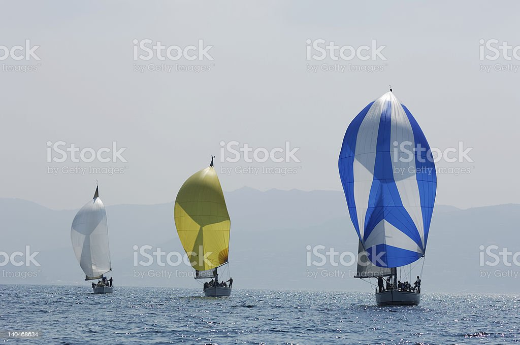 three coloured spinnakers royalty-free stock photo