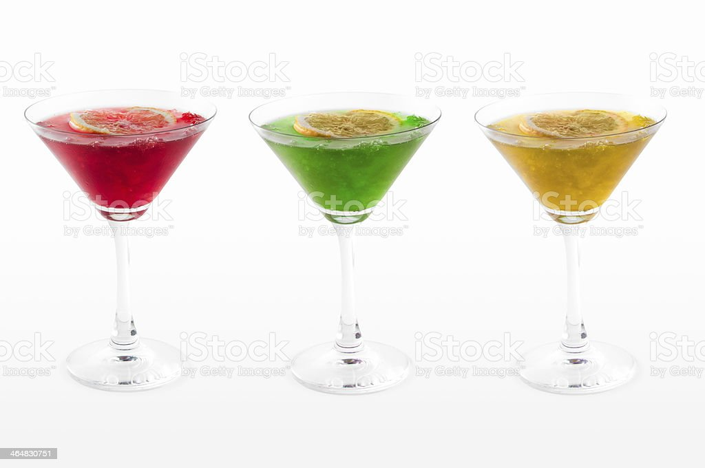 Three colourful iced cocktails stock photo