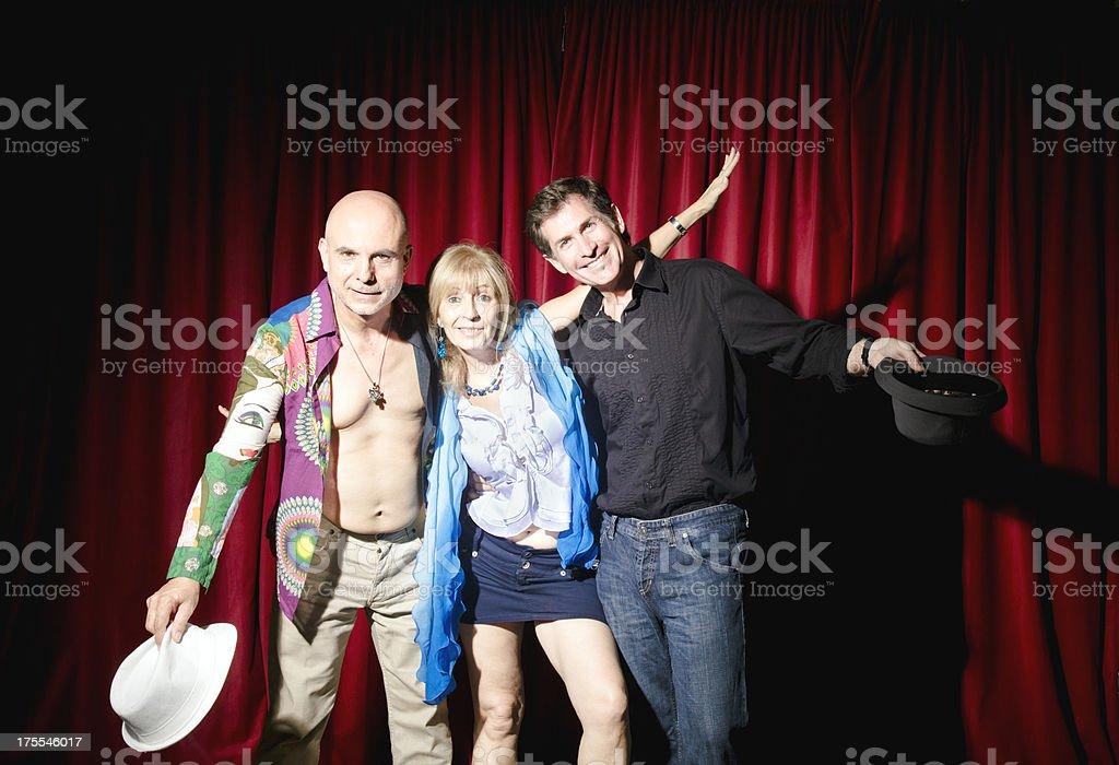 Three comedians stock photo