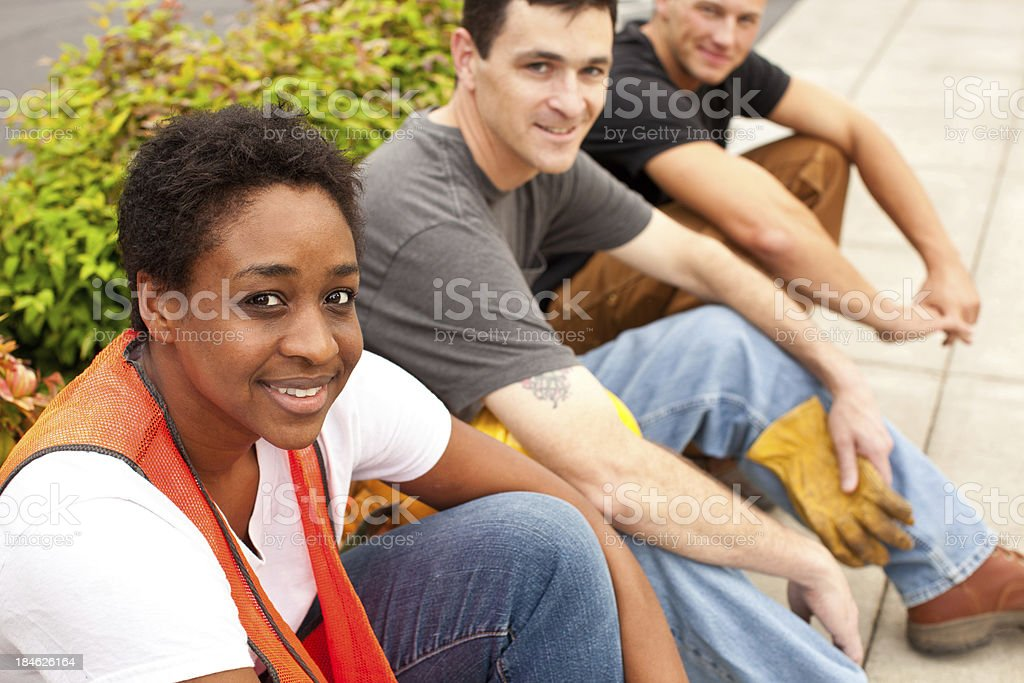 Three Construction Workers royalty-free stock photo