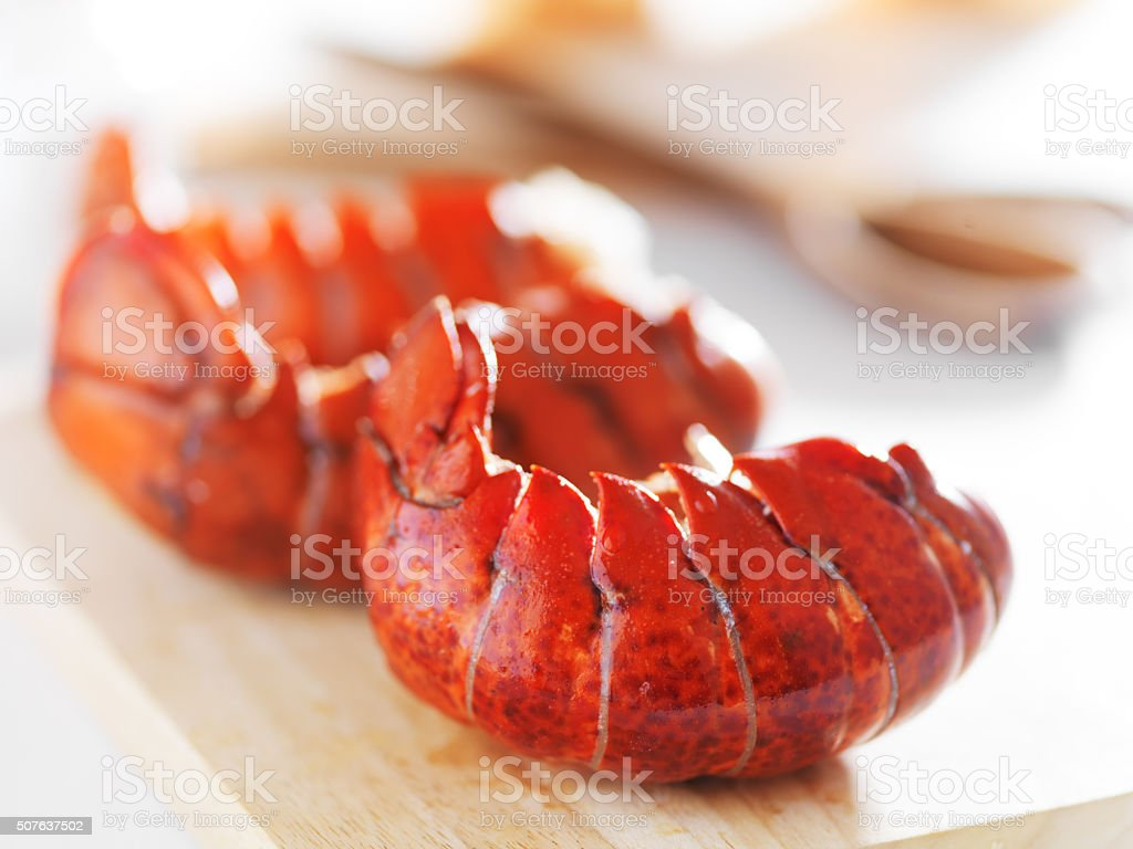 three cooked lobster tails stock photo