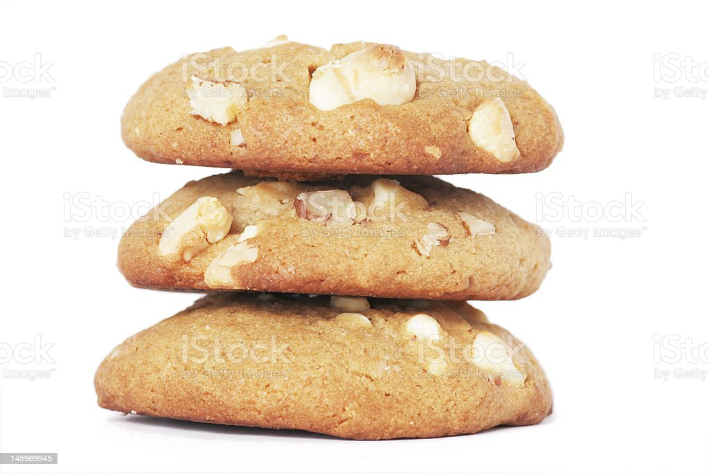 Three Cookie Biscuits With White Chocolate And Nuts stock photo
