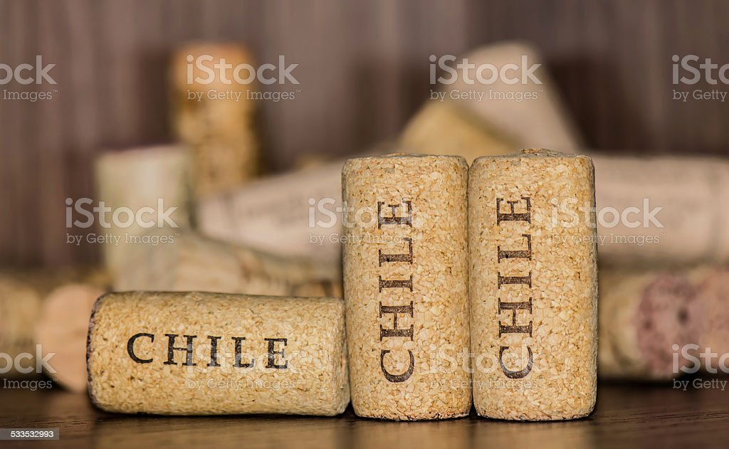 Three corks of Chile wine bottles stock photo
