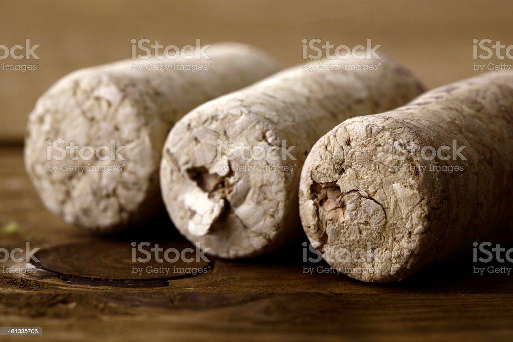 Three corks stock photo