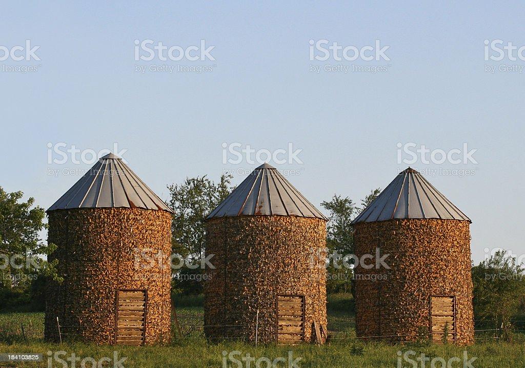 Three Corn Storage Bins stock photo
