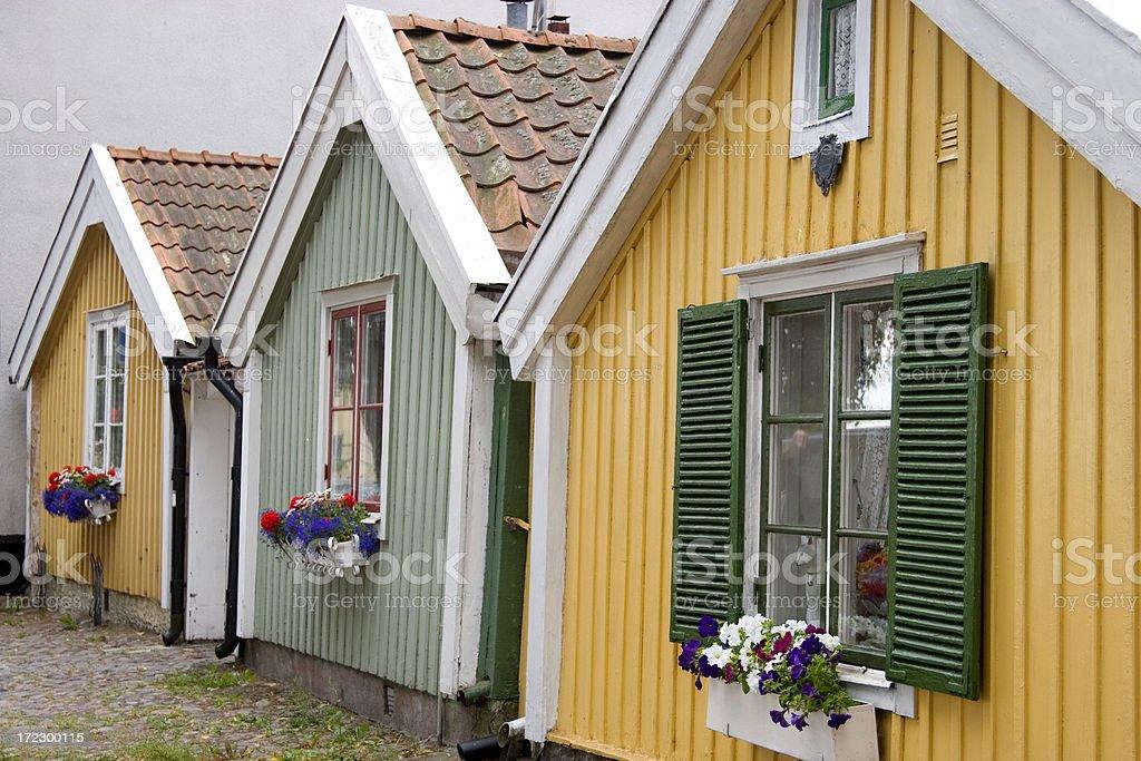 Three cottages stock photo