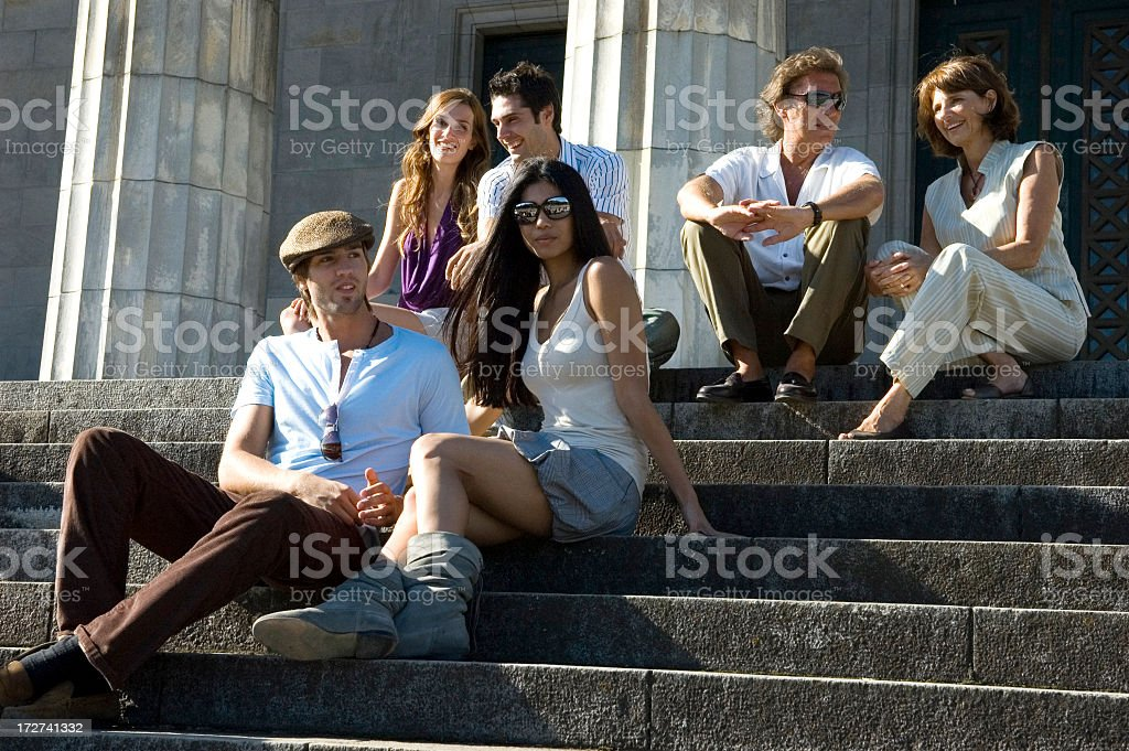 Three Couples on the Steps stock photo