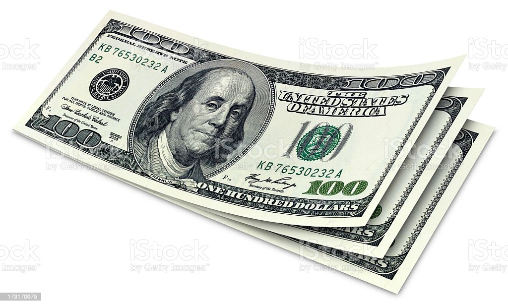 Three crisp, stacked, duo tone one hundred dollar bills stock photo