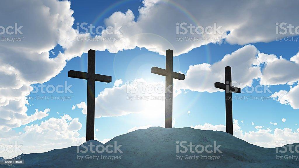 three cross on Calvary hill royalty-free stock photo