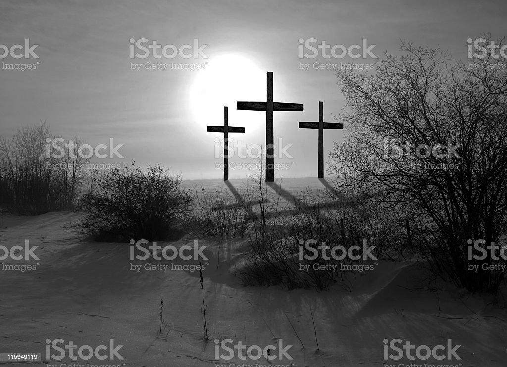 Three Crosses Black and White stock photo