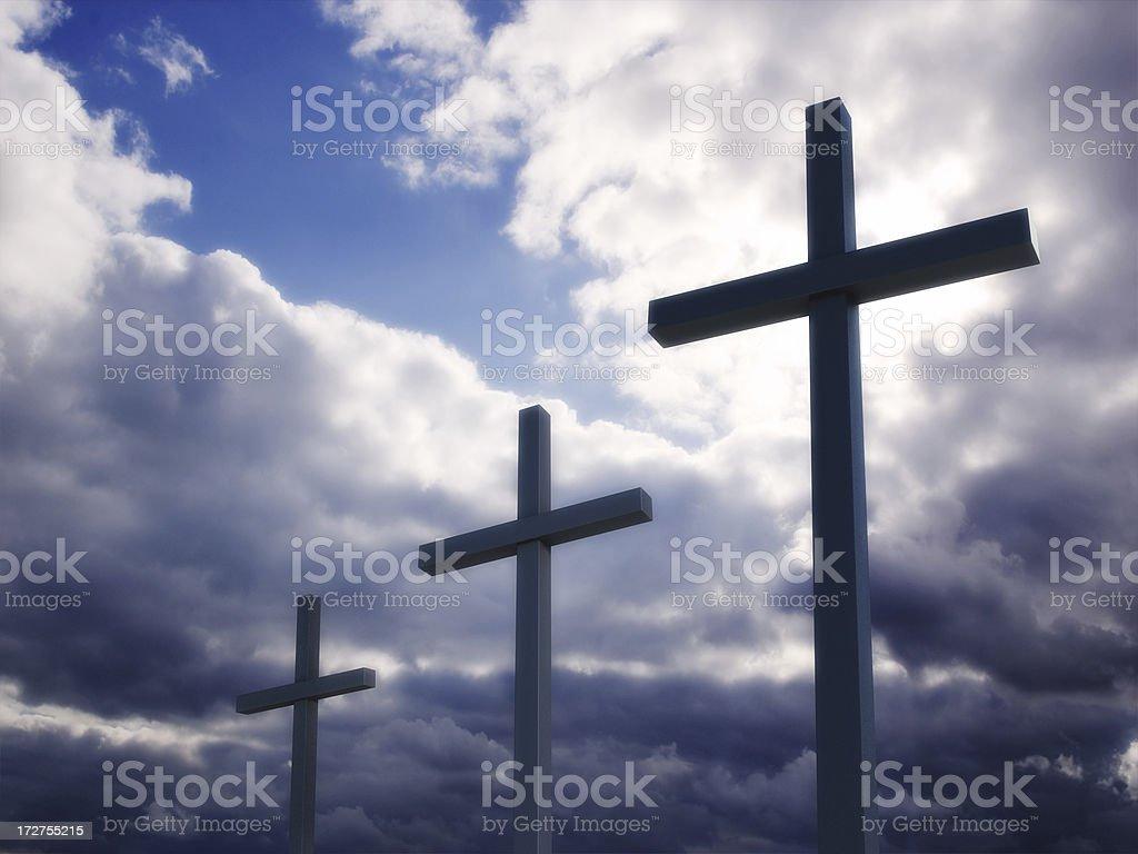 Three Crosses II stock photo