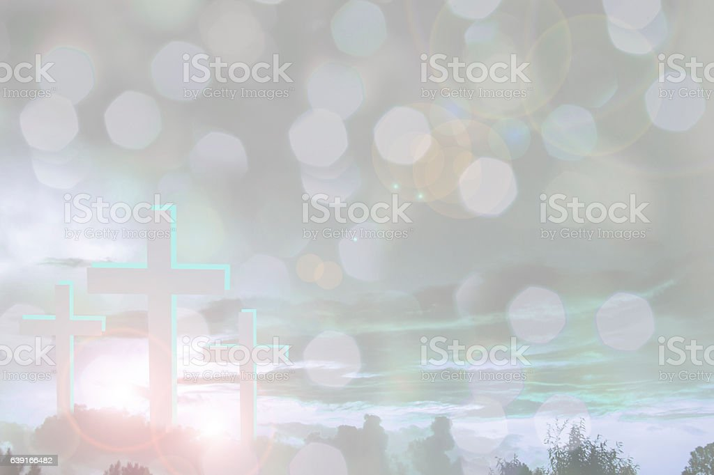 Three crosses on a hill for Easter, Good Friday. stock photo